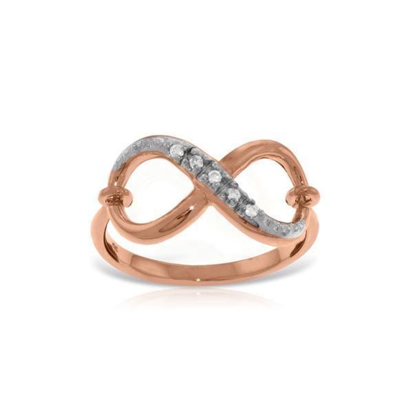 Genuine 0.03 ctw Diamond Anniversary Ring 14KT Rose Gold - REF-46P7H