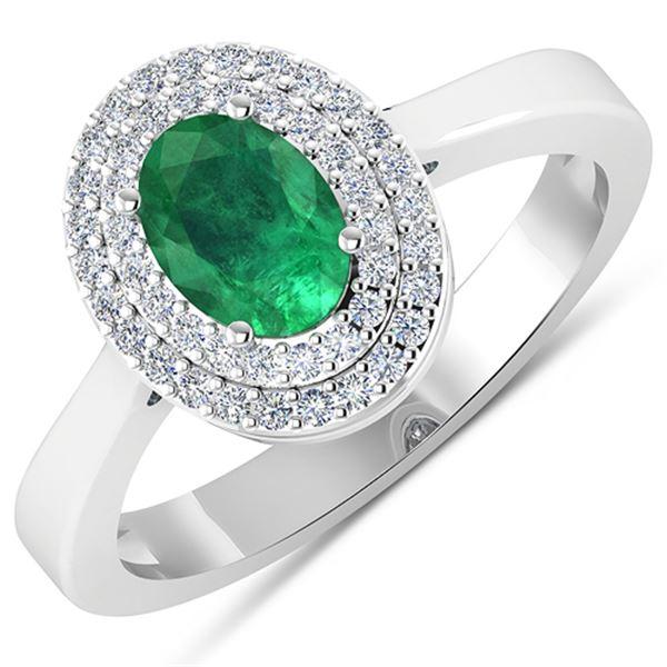 Natural 0.78 CTW Zambian Emerald & Diamond Ring 14K White Gold - REF-37H9M