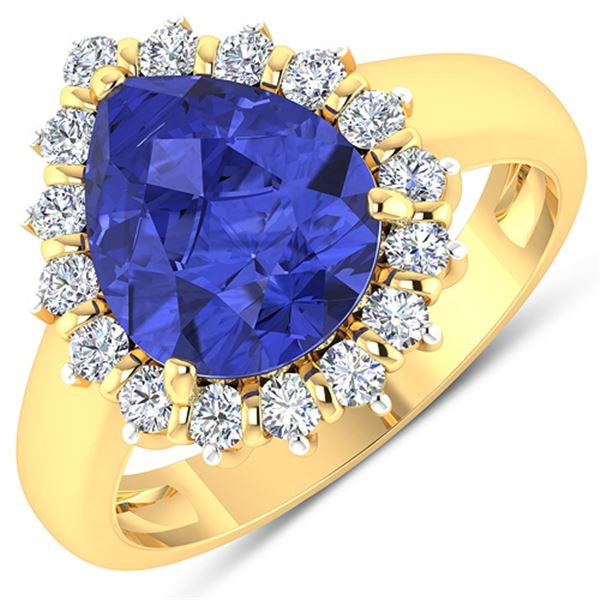 Natural 3.73 CTW Tanzanite & Diamond Ring 14K Yellow Gold - REF-121W7X
