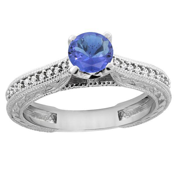 0.74 CTW Tanzanite & Diamond Ring 14K White Gold - REF-55V9R