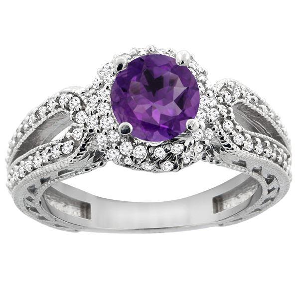 1.25 CTW Amethyst & Diamond Ring 14K White Gold - REF-86A7X