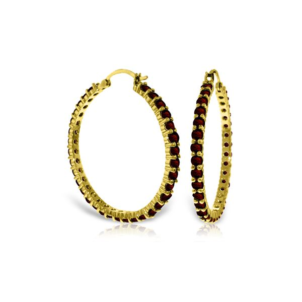 Genuine 6 ctw Garnet Earrings 14KT Yellow Gold - REF-104N8R