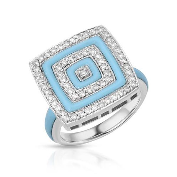 Natural 2.48 CTW Turquoise & Diamond Ring 14K White Gold - REF-87T3X