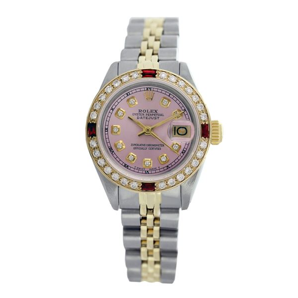 Rolex Pre-owned 26mm Womens Custom Pink with Tracker Two Tone