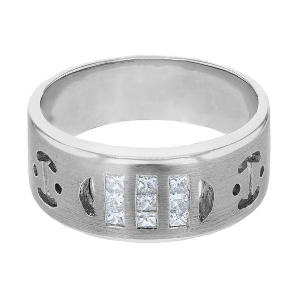 Natural 0.36 CTW Princess Diamond Ring 14K White Gold - REF-96W3H