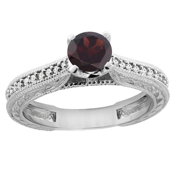 0.75 CTW Garnet & Diamond Ring 14K White Gold - REF-53Y2V