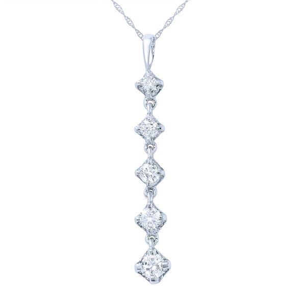 Natural 0.75 CTW Diamond Necklace 14K White Gold - REF-89W3H