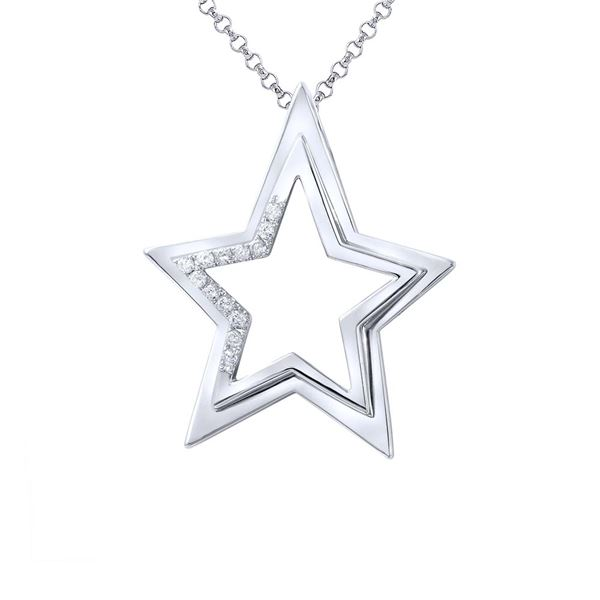 Natural 0.23 CTW Diamond Necklace 14K White Gold - REF-76W5H