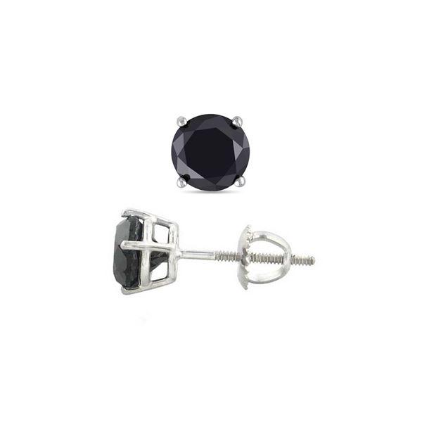 14K White Gold 2.02 ctw Black Diamond Stud Earrings - REF-119R3X