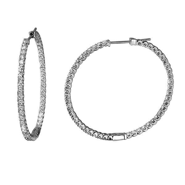 2.49 CTW White Round Diamond Hoop  Earring 14K White Gold - REF-245X5W