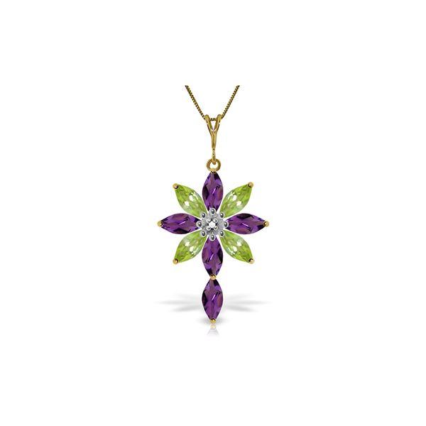 Genuine 2.0 ctw Amethyst, Peridot & Diamond Necklace 14KT Yellow Gold - REF-47Y4F