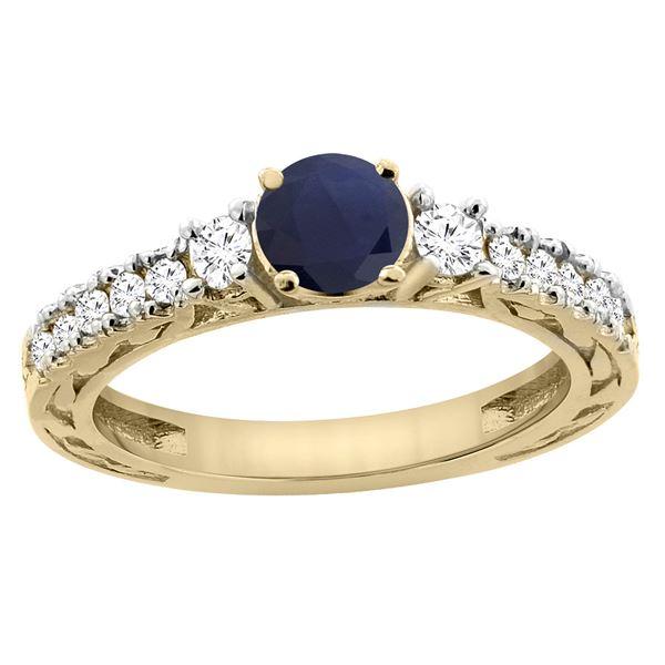 1.40 CTW Blue Sapphire & Diamond Ring 14K Yellow Gold - REF-142R7H