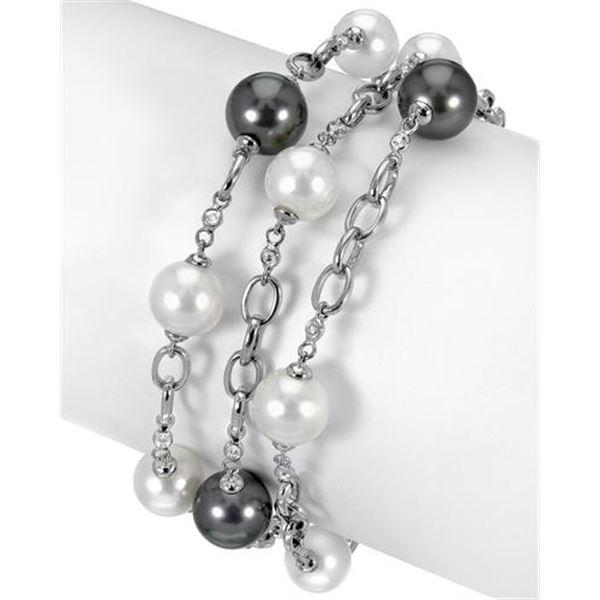 Natural 58.61 CTW Freshwater Pearl & Diamond Bracelet 18K White Gold - REF-285K3R