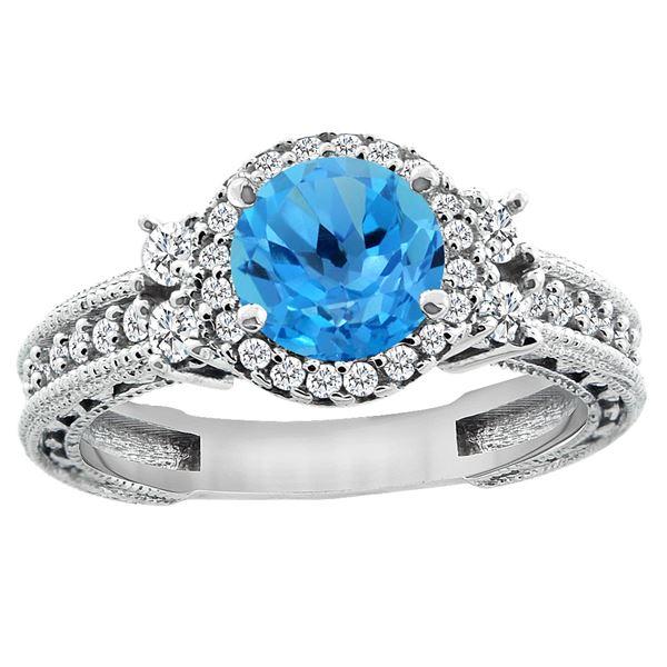 1.46 CTW Swiss Blue Topaz & Diamond Ring 14K White Gold - REF-77Y6V