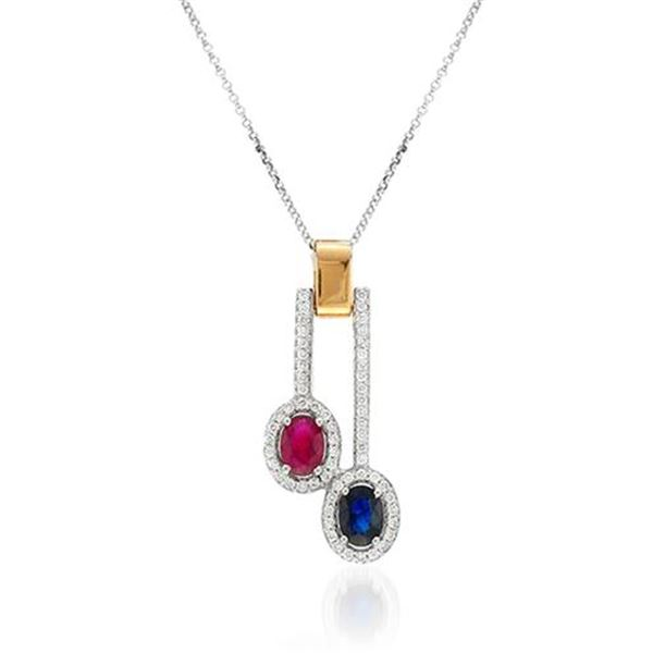 Natural 2.21 CTW Multi-Sapphire & Diamond Necklace 18K Two Tone Yellow Gold - REF-132W3H