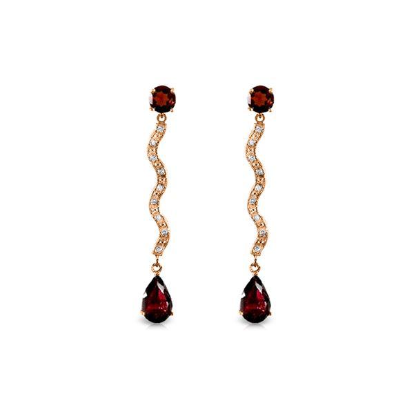 Genuine 4.35 ctw Garnet & Diamond Earrings 14KT Rose Gold - REF-62N3R