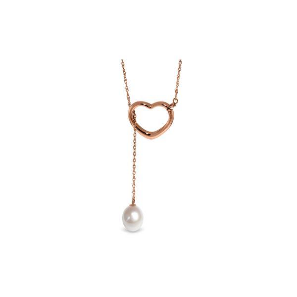 Genuine 4 ctw Pearl Necklace 14KT Rose Gold - REF-31Z4N