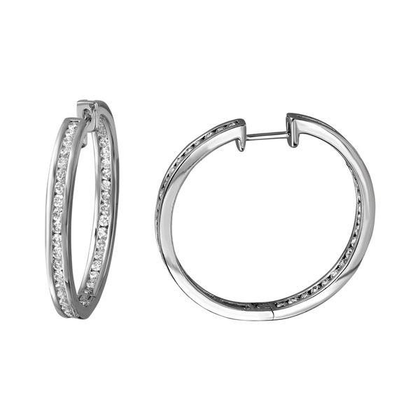 2.01 CTW White Round Diamond Hoop  Earring 18K White Gold - REF-300W2K