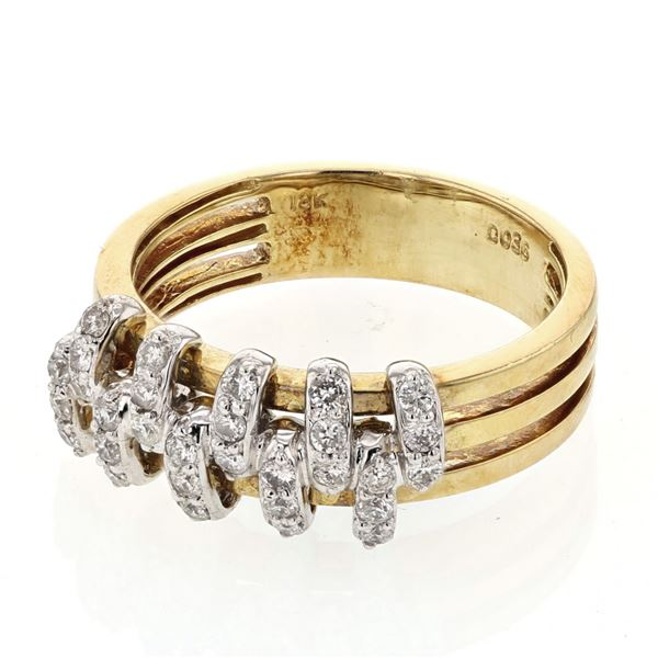 Natural 0.36 CTW Diamond Ring 18K Two Tone Yellow Gold - REF-86F4M