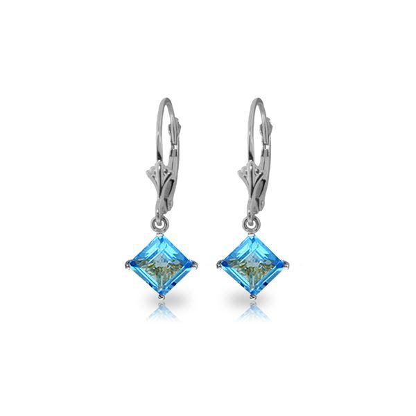 Genuine 3.2 ctw Blue Topaz Earrings 14KT White Gold - REF-30K2V