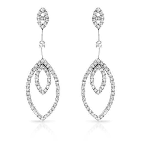 Natural 2.28 CTW Diamond Earrings 18K White Gold - REF-312T3X