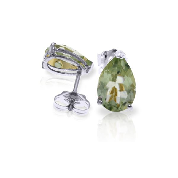 Genuine 3.15 ctw Green Amethyst Earrings 14KT White Gold - REF-21F2Z