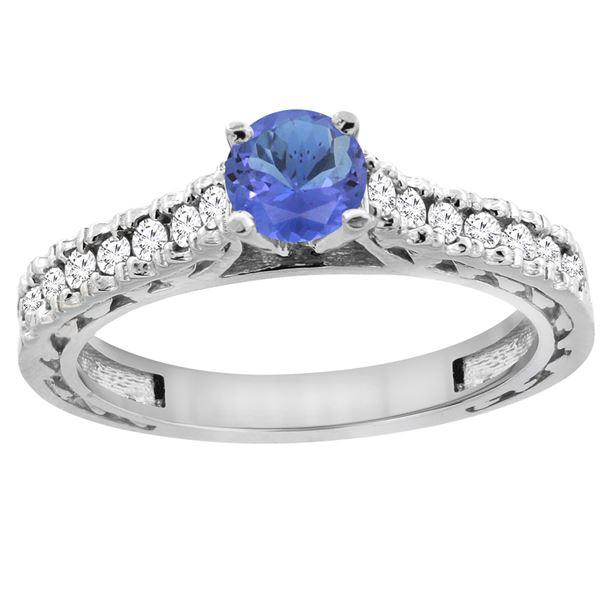 0.89 CTW Tanzanite & Diamond Ring 14K White Gold - REF-64V8R