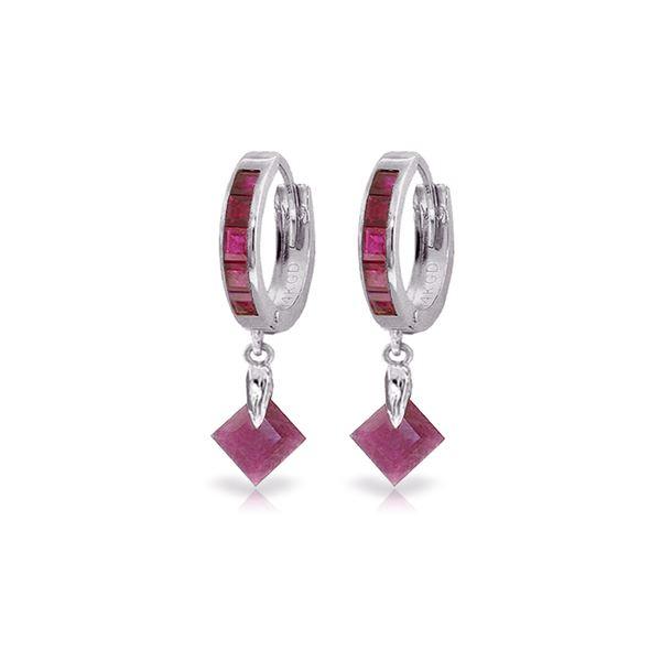 Genuine 3.7 ctw Ruby Earrings 14KT White Gold - REF-60M3T