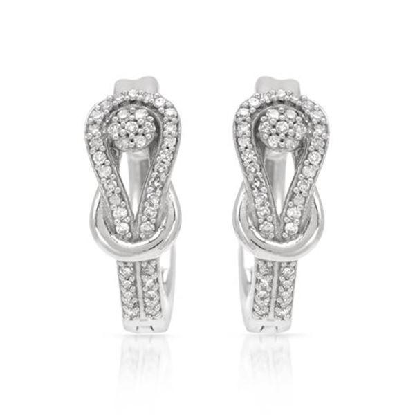 Natural 0.27 CTW Diamond Earrings 14K White Gold - REF-60K3R
