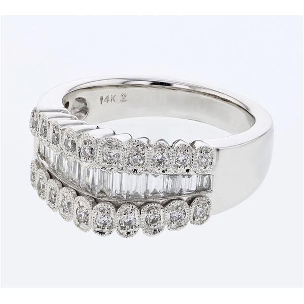 Natural 0.92 CTW Diamond & Baguette Ring 14K White Gold - REF-153N9Y