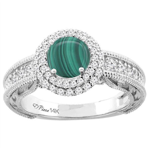 2.63 CTW Malachite & Diamond Ring 14K White Gold - REF-86H4M