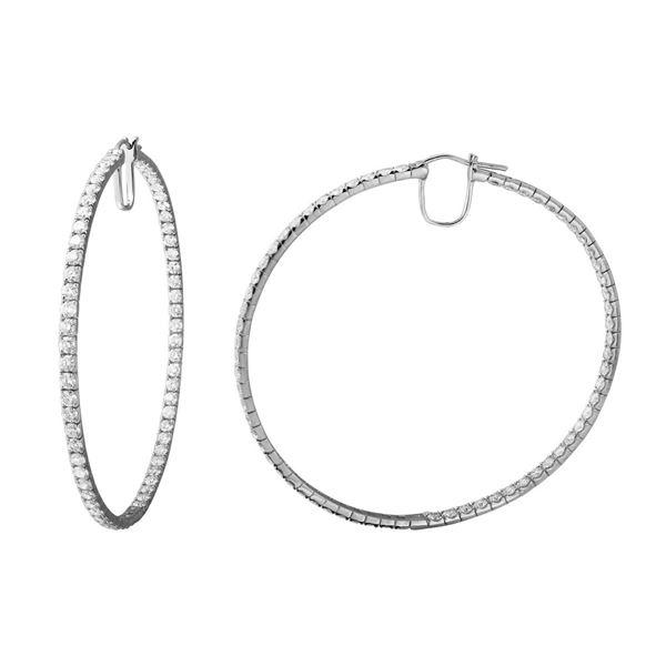 9.66 CTW White Round Diamond Hoop  Earring 14K White Gold - REF-836X4W