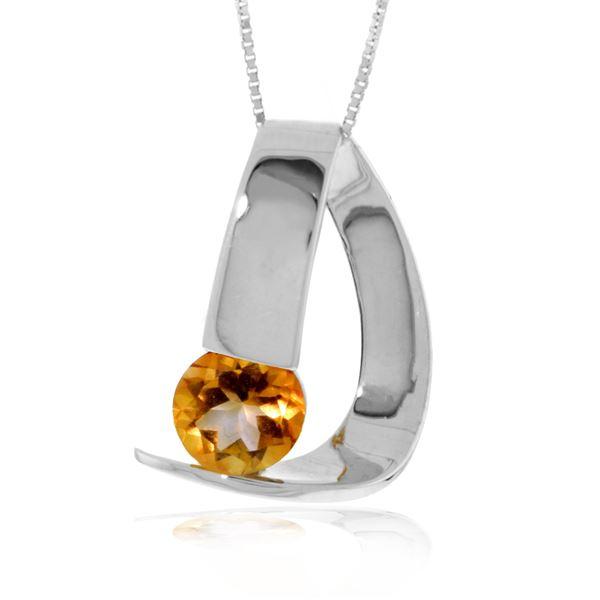 Genuine 1 ctw Citrine Necklace 14KT White Gold - REF-50Y5F