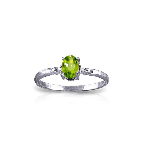 Genuine 0.46 ctw Peridot & Diamond Ring 14KT White Gold - REF-27F3Z