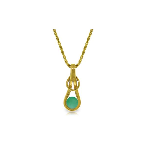 Genuine 0.65 ctw Emerald Necklace 14KT Yellow Gold - REF-76V4W