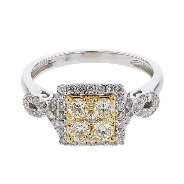 Natural 0.87 CTW Diamond & Yellow Round Diamond Ring 14K Two Tone Yellow Gold - REF-105W3H