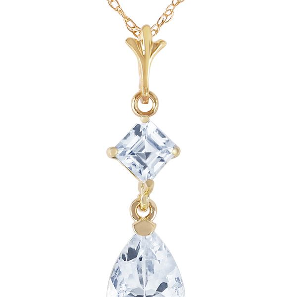 Genuine 2 ctw Aquamarine Necklace 14KT Yellow Gold - REF-30F3Z