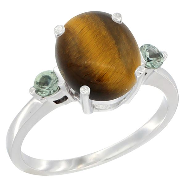 2.54 CTW Tiger Eye & Green Sapphire Ring 10K White Gold - REF-22F4N