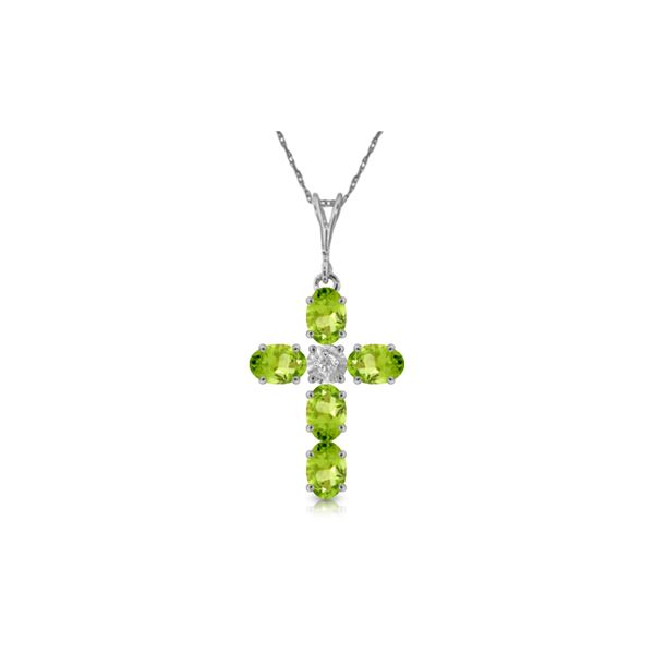 Genuine 1.88 ctw Peridot & Diamond Necklace 14KT White Gold - REF-39N8R