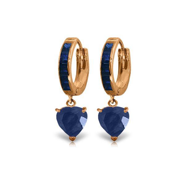 Genuine 3.95 ctw Sapphire Earrings 14KT Rose Gold - REF-68V9W