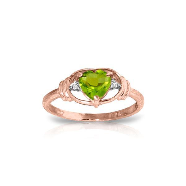 Genuine 0.61 ctw Peridot & Diamond Ring 14KT Rose Gold - REF-40N3R