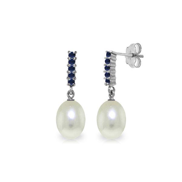 Genuine 8.4 ctw Pearl & Sapphire Earrings 14KT White Gold - REF-25Z6N