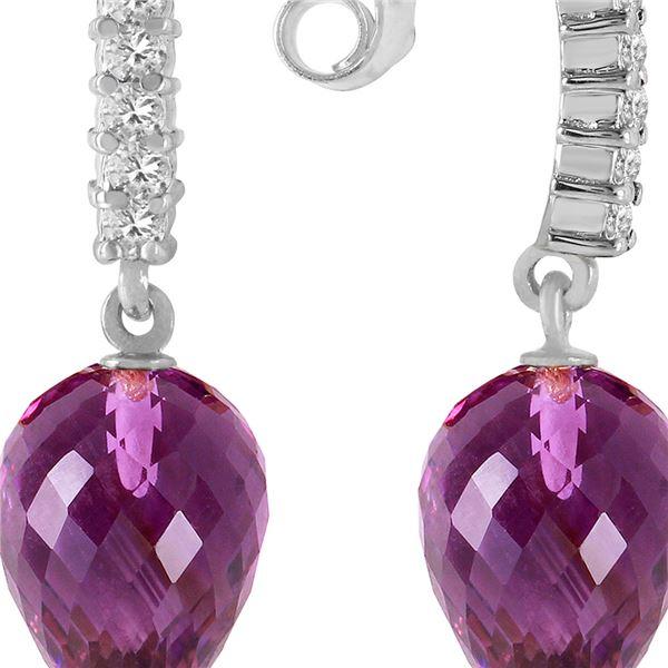 Genuine 19.15 ctw Amethyst & Diamond Earrings 14KT White Gold - REF-47V4W