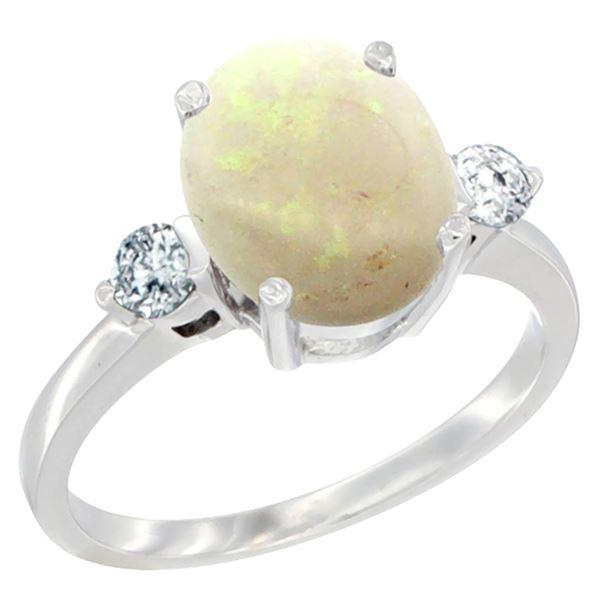 1.61 CTW Opal & Diamond Ring 10K White Gold - REF-61X6M