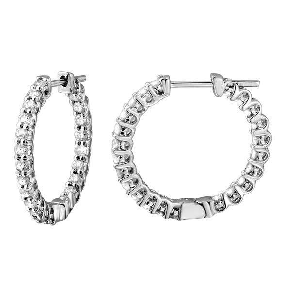 1.14 CTW White Round Diamond Hoop  Earring 14K White Gold - REF-100H2N