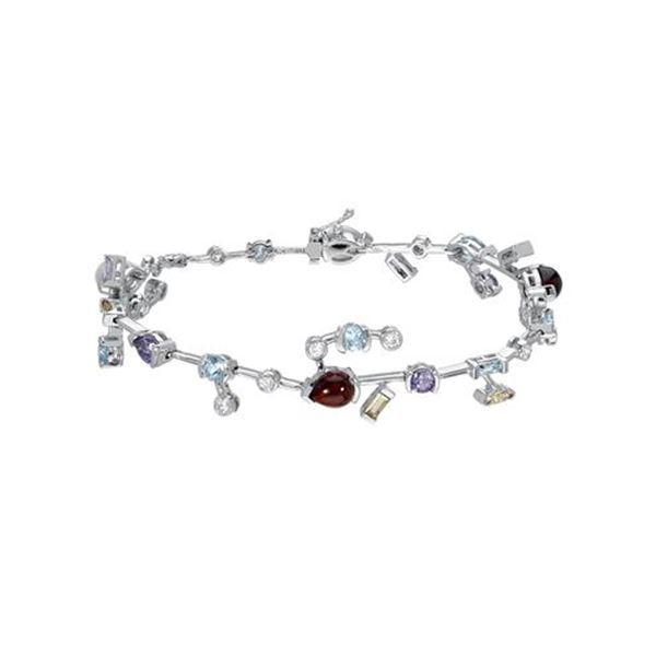 Natural 8.07 CTW Amethyst/CItrine/Garnet/Morganite/Topaz & Diamond Bracelet 18K White Gold - REF-144