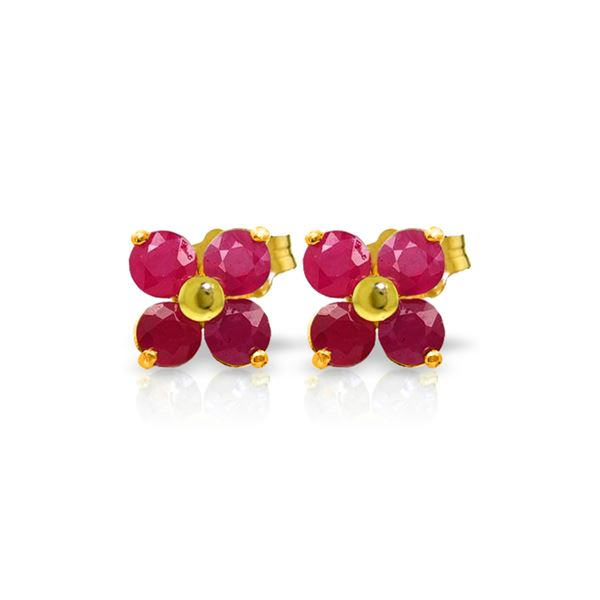 Genuine 1.15 ctw Ruby Earrings 14KT Yellow Gold - REF-21P9H