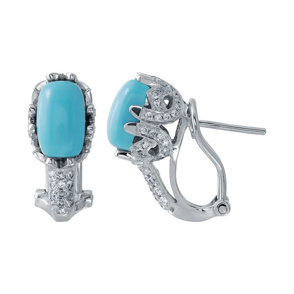 Natural 3.04 CTW Turquoise & Diamond Earrings 14K White Gold - REF-72T2X