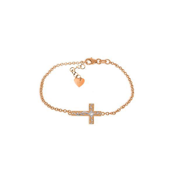 Genuine 0.05 ctw Diamond Anniversary Bracelet 14KT Rose Gold - REF-61N8R