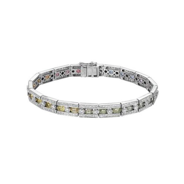 Natural 8.86 CTW Multi-Sapphire & Diamond Bracelet 14K White Gold - REF-295W2H